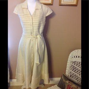 Jones New York cream linen dress